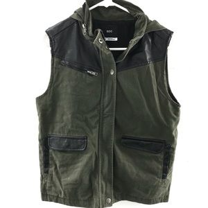 Urban Outfitters BDG Leather Army Green Vest